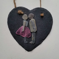 Pebble Art Kissing Couple on a Slate Heart