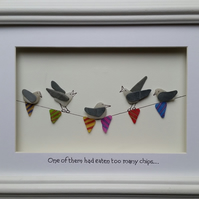 Sea Glass Art Sea Glass Seagulls on Bunting One of them had eaten too many chips