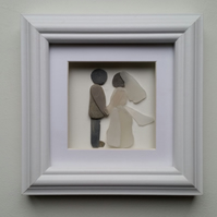 Wedding Day Portrait, Bride & Groom, pebble Art, Sea Glass Art, Cornish