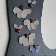 Hanging Slate Plaque Wellington Boot Decorated with Sea Glass Flowers,