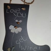 Love Notes. Wellington Boot Shaped Slate Unique Valentine Gift