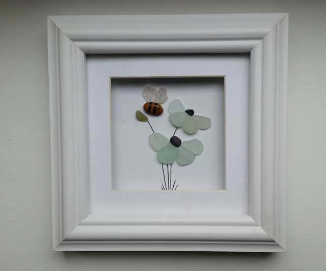 Mother's Day Gift, Sea Glass Flower, and Pebble Bee, Sea Glass Art,