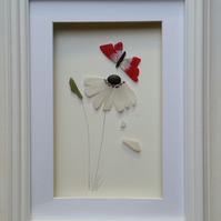 Mother's Day Gifts, Sea Glass Art, Sea Glass Daisy and Red Butterfly, for Nans