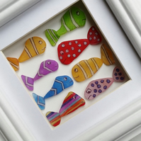 Sea Glass Art, Sea Glass Fish, Child's Bedroom Framed Wall Art