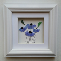 Sea Glass Art Forget Me Nots, Gifts for Mothers, Anniversary Gift, for Mums