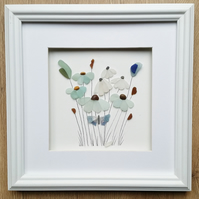 Sea Glass Art, Sea Glass Flowers, Mothers Day Gift Unusual Framed Wall Art