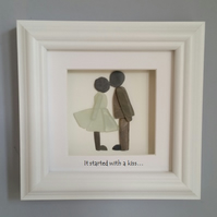 Pebble Art Kissing Couple, Gifts for Couples, Engagement, Anniversary