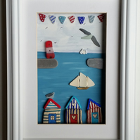 Beach Huts, Tall Ships and Bunting Nautical Themed Coastal Wall Art