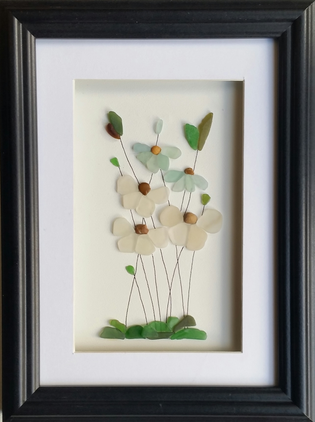 Sea Glass Flowers, Unique Mother's Day Gift, Framed Wall Art, Made in Cornwall