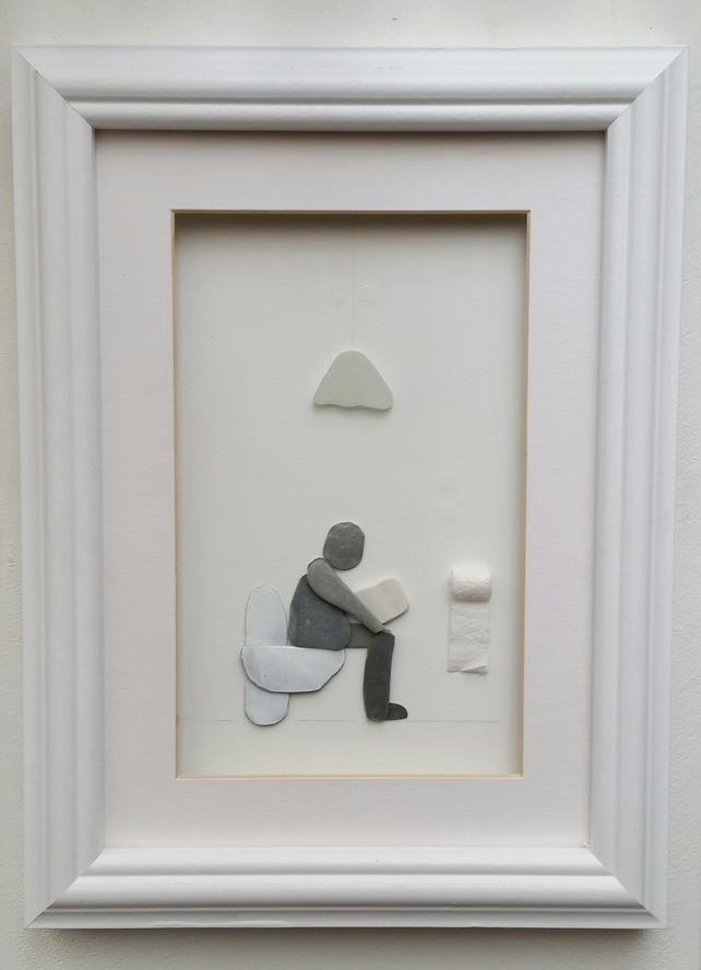 Unusual Fathers Day Gift, Humorous Pebble Art Picture, Man Sitting on Toilet