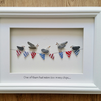 Sea Glass Art, Seagulls on Bunting, Unusual Gift Ideas