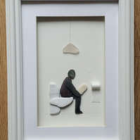 Unusual Gift for Men Humorous Pebble Art Picture, Man Sitting on Toilet
