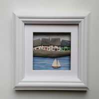 Coastal Framed Wall Art, Cornish Cottages and Yacht, Made in Cornwall