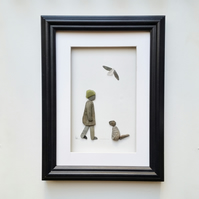 Pebble Art Picture, Woman and Dog, Unusual Gifts for Women, Quirky Gift Ideas