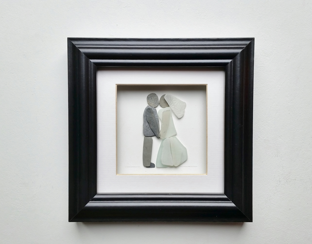 Pebble Art Bride & Groom  Wedding Gift, Unusual Wedding Gift for the Couple