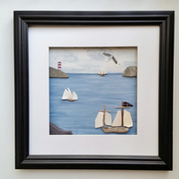 Coastal Framed Wall Art, Tall Ships with Sea Pottery Sails, Made in Cornwall