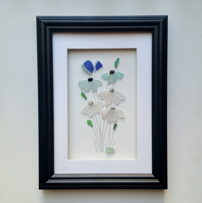 Sea Glass Flowers, Framed Wall Art, Unusual Gifts for women, Quirky Gift Ideas