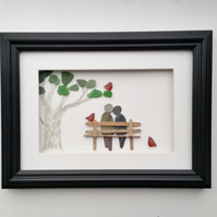 Pebble Art Couple on Bench, Unusual Anniversary Gift, Quirky Gift Ideas