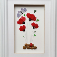 Poppies, Sea Glass Poppy, Red Flowers, Unusual Gifts for Women, Anniversary Gift
