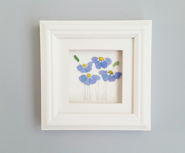 Sea Glass Art Blue Flowers, Forget Me Nots, Unusual Gifts for Women