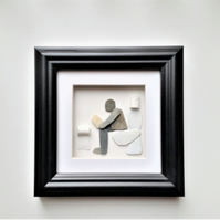 Pebble Art Man on Loo, Father's Day Gift, Bathroom Wall Decor Funny Gift for Him