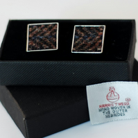 Harris Tweed Cuff links - Beautiful range of  Blue,Brown, Black colours,