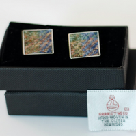 Harris Tweed Cuff links, Chrome square, Green Blues Tweed with gift box