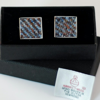 Harris Tweed Cuff links - Beautiful range of  blue, brown  colours,