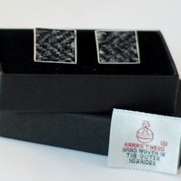 Harris Tweed Cuff links - Beautiful range of black, white colours,