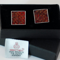 Harris Tweed Cuff links - Beautiful range of  Rust  colours,