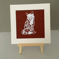 FOX PAPER CUT PICTURE, HARRIS TWEED FABRIC, HANDMADE, WITH MOUNT, ORANGE,RUST