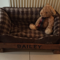 Vintage Handmade Crate Pet Bed