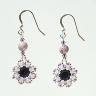 Purple Crystal Flower Earrings