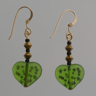 Green Heart Earrings with Swarovski Crystals