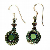 Metallic Green Crystal Drop Earrings, Dark Green and Sterling Silver