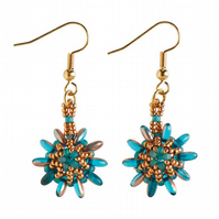 Gold and Turquoise Beaded Flower Earrings