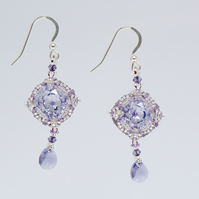 Lavender Vintage Style Crystal Drop Earrings