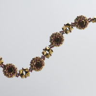 Bronze and Purple Crystal Bracelet, Beadwork Bracelet with Swarovski Crystals