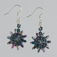 Sparkly 'Magic Blue' Flower Earrings