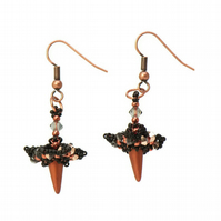 Copper Spike Earrings with Swarovski Crystals