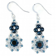 Metallic Midnight Blue Flower Earrings with Swarovski Crystals and Glass Pearls