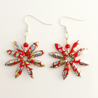 Red Peacock Daisy Earrings