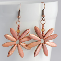 Copper and Gold Daisy Earrings