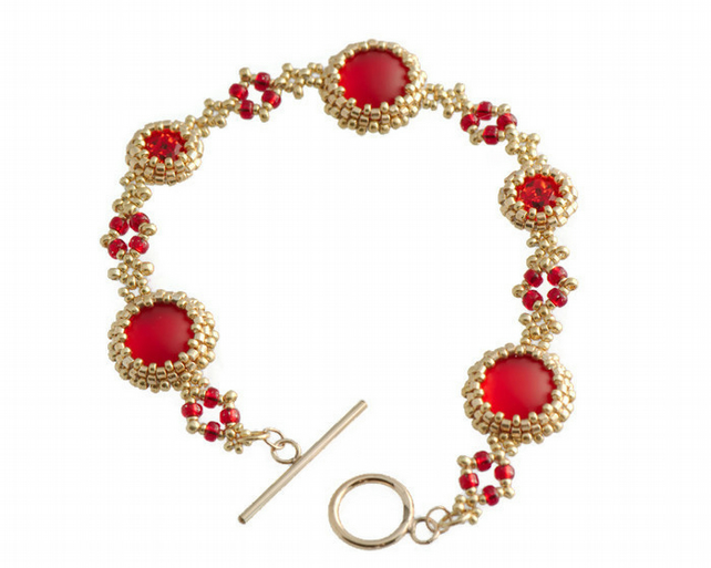 Red and Gold Beadwork Bracelet with Swarovski Crystals