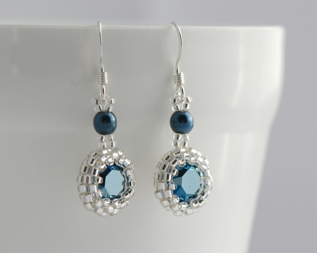 Small Drop Earrings - Metallic Blue Crystal