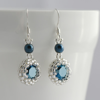 Dark Blue Metallic Crystal Drop Earrings