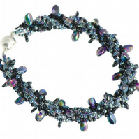 Midnight Sky Bracelet, Dark Blue Iridescent Beadwork Bracelet