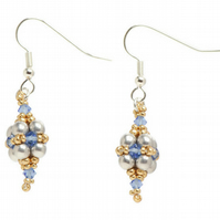 Sale - Blue, Silver and Gold Beadwork Dangle Earrings