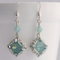 Sea Green Vintage Inspired Crystal Drop Earrings