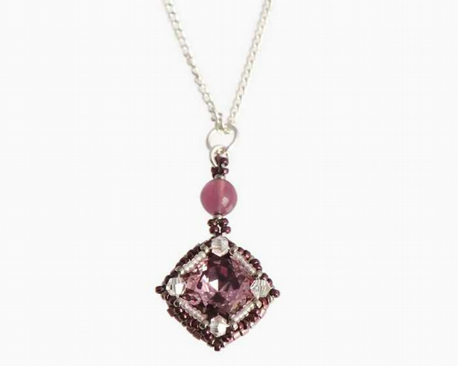 Purple Vintage Style Crystal Pendant on a Sterling Silver Chain